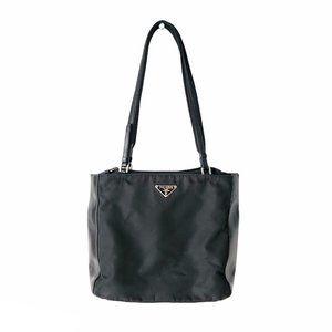 Prada Black Nylon & Leather Shoulder Bag